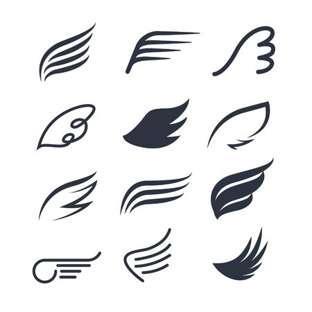 Vector wings icon set. Bird or angel wing silhouette illustration design feather