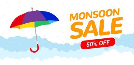 Monsoon sale offer rain season background. Rainy monsoon promotion poster template