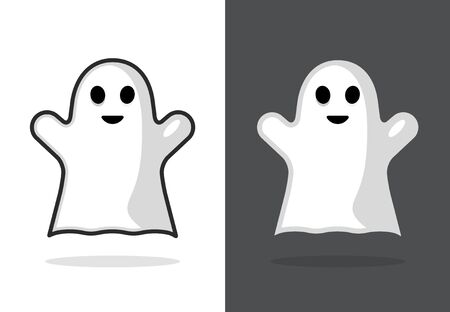 Cute ghost icon halloween boo vector illustration, funny ghost face Фото со стока - 132118634