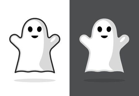 Cute ghost icon halloween boo vector illustration, funny ghost face Иллюстрация