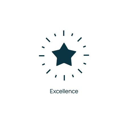 Excellence star vector premium line icon. Sertificate stamp quality star mark service
