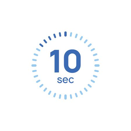 10 second timer clock. 10 sec stopwatch icon countdown time digital stop chronometer