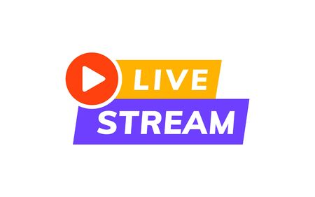Logo vectoriel d'icône de flux en direct. Conception de modèle en ligne d'actualités télévisées en direct de diffusion vidéo Logo