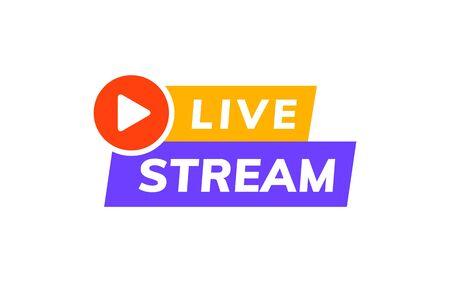 Logo wektor ikona transmisji na żywo. Transmisja wideo na żywo z wiadomości telewizyjnych na żywo projekt szablonu online Logo