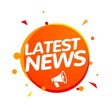 Latest news breaking report. Daily newspaper or news report banner icon concept Çizim