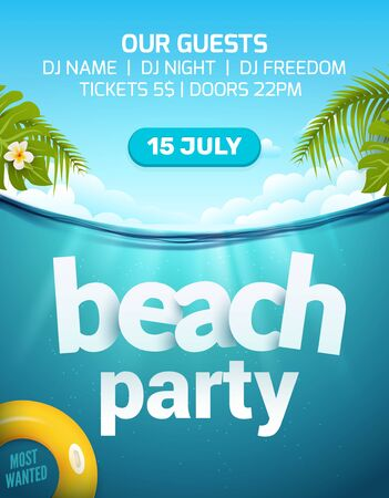 Pool beach summer party invitation banner flyer design. Water and palm inflatable yellow mattress. Beach party template poster Reklamní fotografie - 132118670