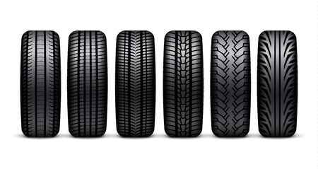 Car tire wheel isolated illustration. Car tyre rubber 3d icon rim sport realistic tire design.