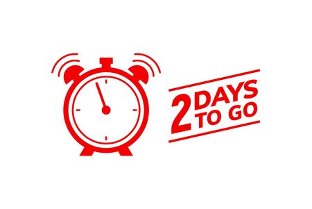 2 day to go last countdown icon. Two day go sale price offer promo deal timer, 2 day only Ilustração