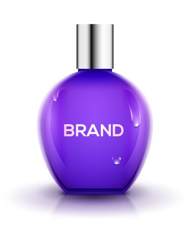 Perfume bottle design glass. Beauty cosmetic vector container female care. Perfume product design