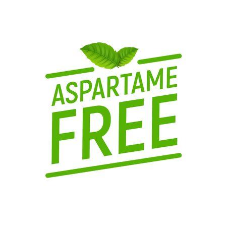 Aspartame free artificial symbol icon. Health product no aspartame sticker stamp, sweetener no sugar Vector Illustration
