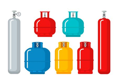 Gas cylinder vector tank. Lpg propane bottle icon container. Oxygen gas cylinder canister fuel storage. Çizim