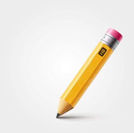 Vector short yellow pencil, Realistic pencil isolated cartoon with rubber eraser Ilustrace