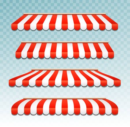 Store awning shop canopy. Store tent red striped roof front view. Restaurant, grocery or cafe awning street umbrella