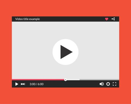 Video player interface web screen template. Media player window bar design mockup.
