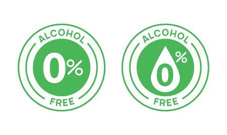 Timbre d'icône ronde sans alcool. Sceau de signe d'alcool zéro. Étiquette de marque d'emblème sans alcool