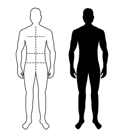 Man anatomy silhouette size. Human body full measure male figure waist, chest chart template 矢量图像