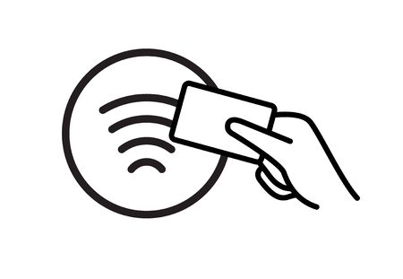 Contactless NFC wireless pay sign logo. Credit card nfc payment vector concept