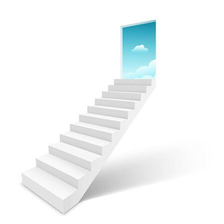 Escalera con cielo de puerta abierta, escalera de escalera al concepto de cielo. Ilustración de vector