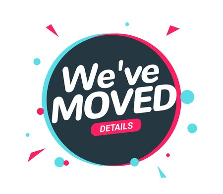 We have moved new office address icon location. Move change location announcement speaker concept