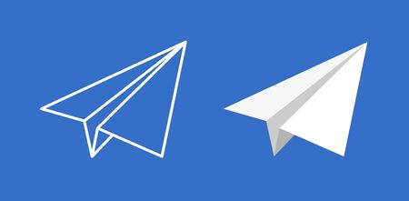 Paper plane vector icon set. Origami paper airplane illustration isolated outline.