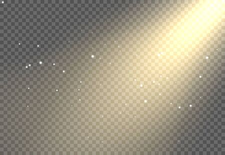 Sun light flare background effect, Sunlight ray glowing beam on transparent, warm shine glare.