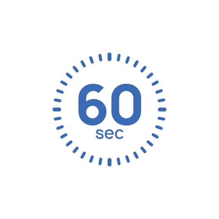 60 second timer clock. 60 sec stopwatch icon countdown time digital stop chronometer.