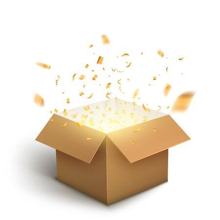 White gift box confetti explosion. Magic open surprise gift box package decoration.