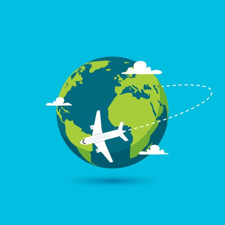 Airplane vector earth world globe icon. Plane flying round travel concept.