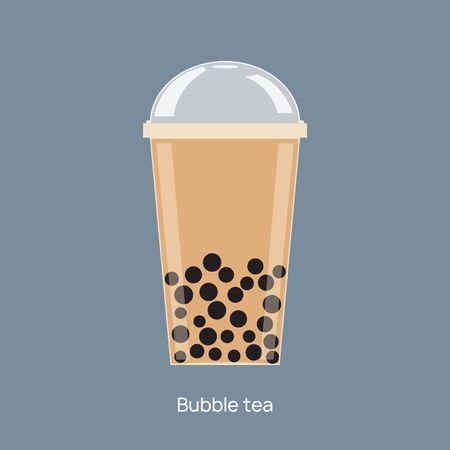 Milk bubble tea vector drink tapioca cup. Boba bubble tea pearl taiwan thai drink tapioca.