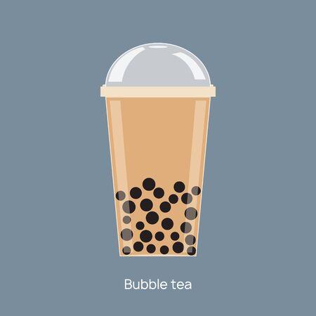 Taza de tapioca de bebida de vector de té de burbujas de leche. Boba bubble tea pearl taiwán tailandés beber tapioca.