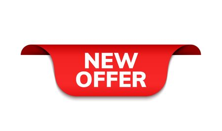 New offer ribbon vector banner. Red promotion label bew offer price tag label for advertising.