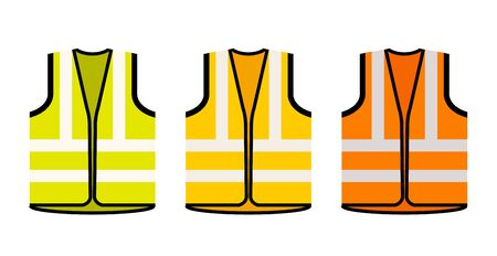 Safety jacket security icon. Vector life vest yellow visibility fluorescent work jacket Иллюстрация