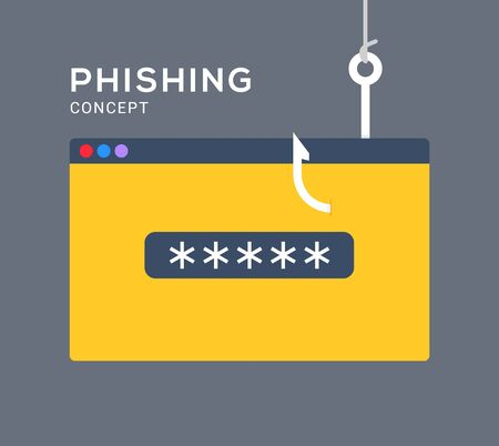 Data phishing hacking online. Scam envelope concept. Computer data fishing hack crime.