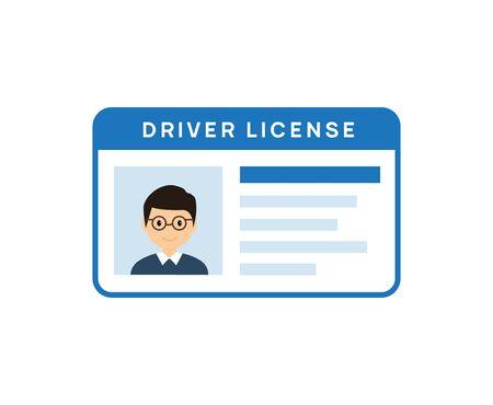 Icona della patente di guida. Licenza di vettore della carta d'identità del conducente. Identificazione dell'identità dell'unità con foto.