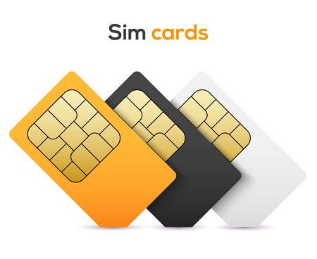 Sim card vector mobile phone icon chip. Simcard set isolated 3d design gsm. Иллюстрация