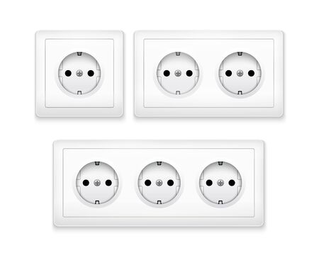 Power socket outlet wall plug icon. Electric round eu power socket illustration.
