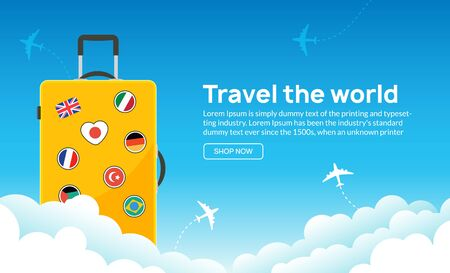 Travel tourism banner background. Luggage fun tour and bag, airplane travel design