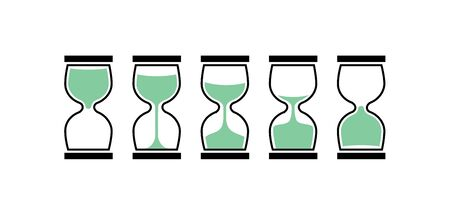 Sand clock time icon. Hour glass sand watch timer. Hourglass illustration flat sandclock