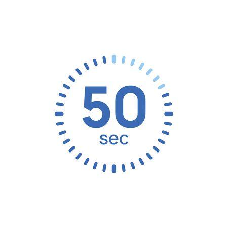 50 second timer clock. 50 sec stopwatch icon countdown time digital stop chronometer Illusztráció