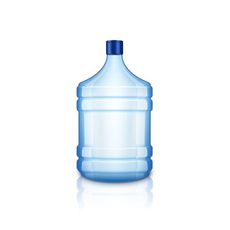 Vector water empty bottle. Large plastic big blue transparent bottle for clean water, isolated
