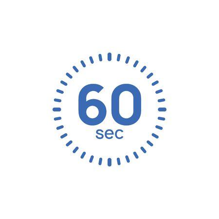 60 second timer clock. 60 sec stopwatch icon countdown time digital stop chronometer. Illusztráció