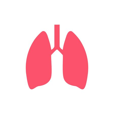 Lung human icon, respiratory system healthy lungs anatomy flat medical organ icon.