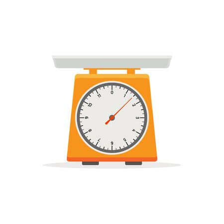 Domestic weigh scale food balance vector icon. Food weight kitchen illustration.