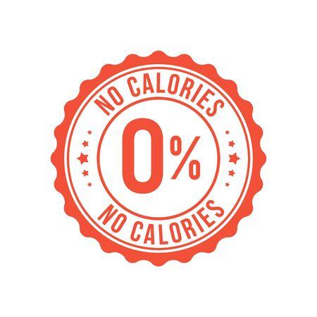 Zero calorie low sugar icon. Zero percent calorie stamp diet symbol.