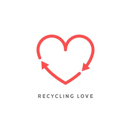 Recycle heart arrow sign. Recycle love icon vector. Heart shape cycle earth enviromental background concept