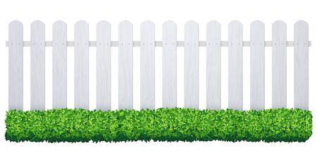 Valla blanca con césped. Ilustración de barier de jardín de granja aislada de fondo de piquete de madera
