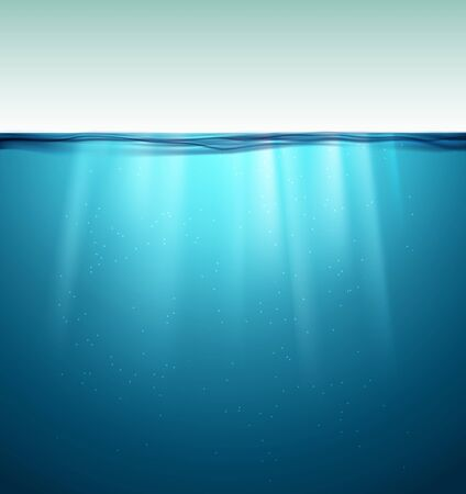 Underwater ocean surface. Blue water background. Clean nature sea underwater backdrop