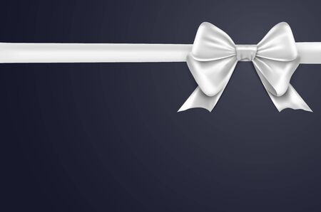 White bow ribbon on white background. White bow isolated gift decoration design for holiday Illusztráció