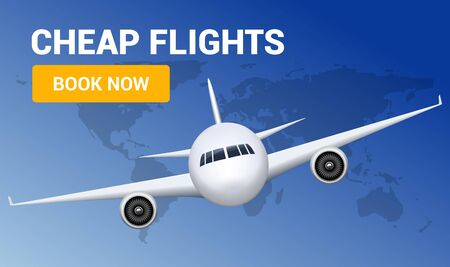Flight travel trip banner for online booking. Vector Airplane cheap ticket online sale design promo template Banque d'images - 133432735