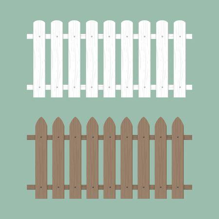 Illustrazione di recinzione in legno. Cortile del muro di legno della fattoria, giardino dei cartoni animati. Motivo di sfondo del cancello in legno